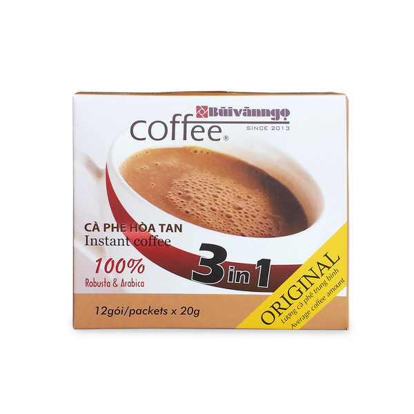 Instant coffee 3in1 Original 20g x 12 packets - Buivanngo Coffee- Hotline: 0903752889